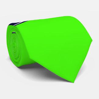 Verde lima sólida, monograma del nombre de la corbatas