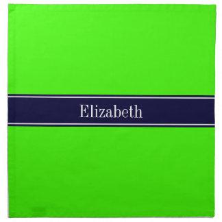 Verde lima sólida monograma del nombre de la servilleta de papel