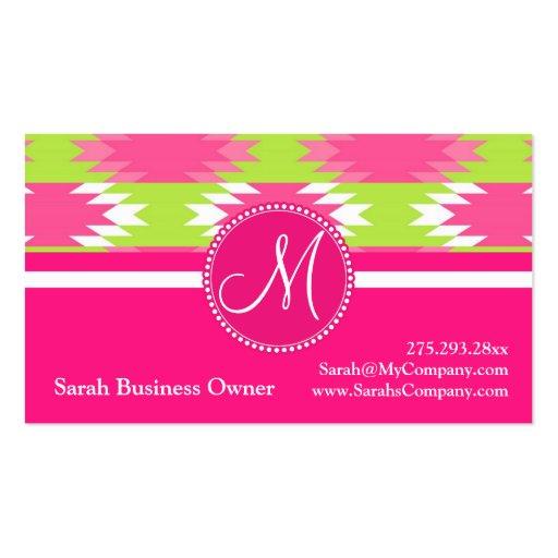 Verde lima tribal azteca de las rosas fuertes de l tarjeta de visita