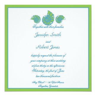Verde lima y boda del Seashell de la turquesa Invitacion Personal