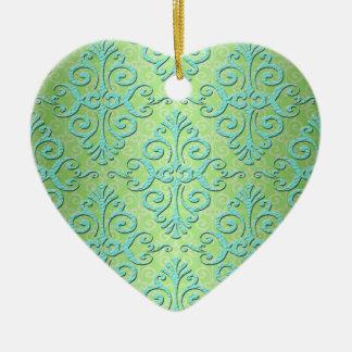 Verde lima y damasco de lujo del trullo adorno de cerámica en forma de corazón
