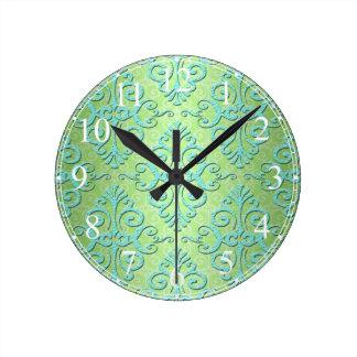 Verde lima y damasco de lujo del trullo reloj redondo mediano
