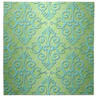 Verde lima y damasco de lujo del trullo servilleta