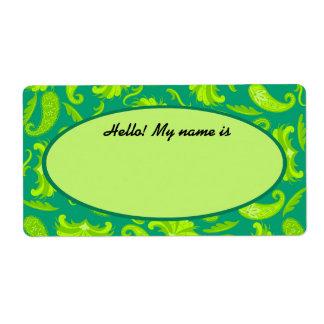 Verde lima y etiqueta conocida de la etiqueta de etiqueta de envío