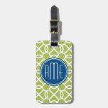 Verde lima y monogramas geométricos azules del mod etiquetas para maletas