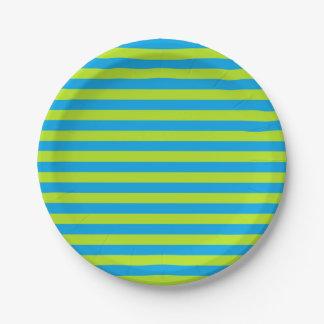 Verde lima y rayas de la turquesa plato de papel de 7 pulgadas