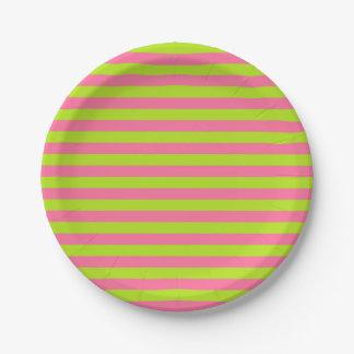 Verde lima y rayas rosadas plato de papel de 7 pulgadas
