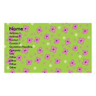 Verde lima y rosa retros del papel pintado tarjetas de visita