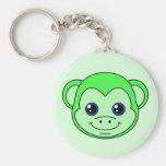 Verde lindo Apple del mono Llavero Personalizado
