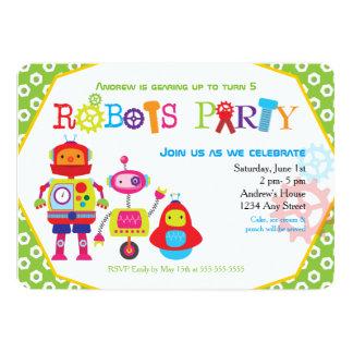 """Verde lindo de los robots de la fiesta de invitación 5"""" x 7"""""""