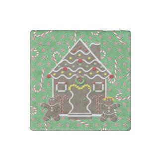 Verde lindo del navidad del chica del muchacho de imán de piedra