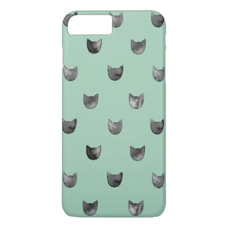 Verde lindo elegante femenino del modelo del gato funda iPhone 7 plus