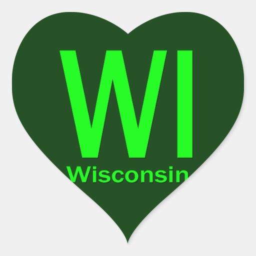 Verde llano de los WI Wisconsin Pegatina En Forma De Corazón