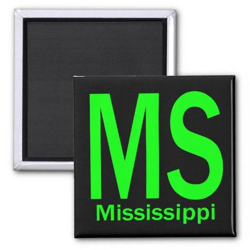 Verde llano del ms Mississippi Imán Cuadrado