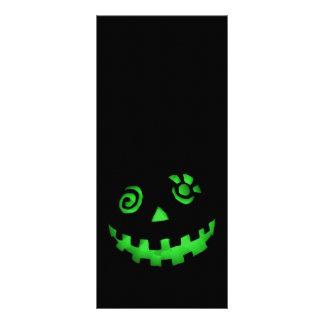 Verde loco de la cara de la calabaza de la lintern plantilla de lona