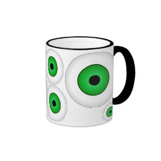Verde loco de la taza de café de los globos del oj