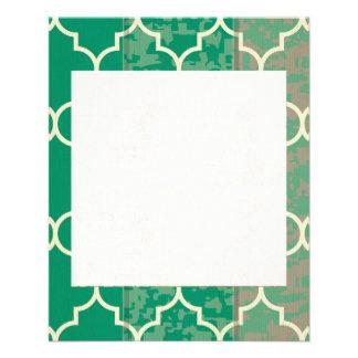 verde, marroquí, quatrefoil, de moda, elegante, folleto 11,4 x 14,2 cm
