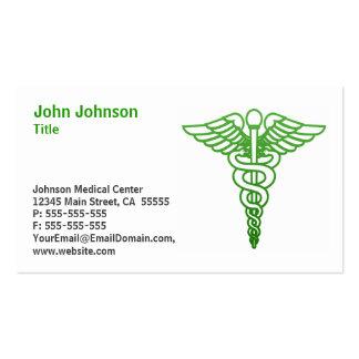 Verde médico de la tarjeta de visita