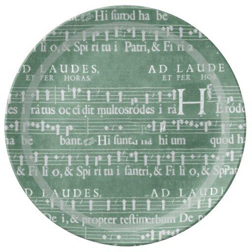 Verde medieval del trullo del manuscrito platos de cerámica