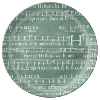 Verde medieval del trullo del manuscrito plato de cerámica