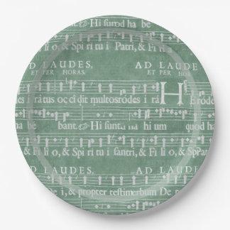 Verde medieval del trullo del manuscrito plato de papel de 9 pulgadas