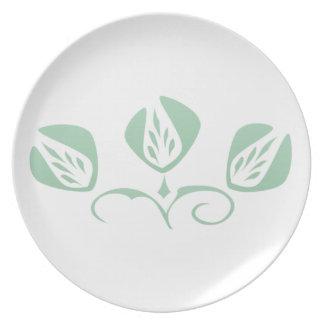 Verde menta adaptable del estilo del art déco flor platos