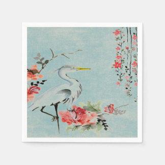 verde menta asiática de la flor de la grúa de las servilletas de papel