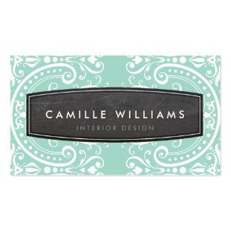 Verde menta blanca afiligranada elegante del vinta plantilla de tarjeta personal