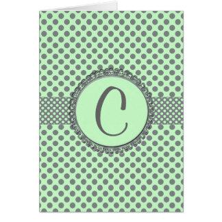 Verde menta con el Punto-Monograma gris de la polc Tarjetas