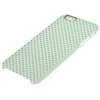 Verde menta con los lunares grises funda clearly™ deflector para iPhone 6 plus de unc