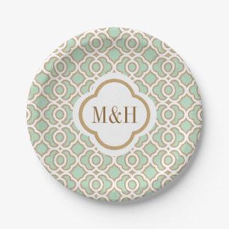Verde menta con monograma y boda marroquí del oro platos de papel