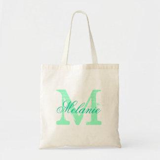 Verde menta conocida personalizada de la bolsa de