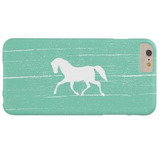 Verde menta corriente elegante del caballo funda para iPhone 6 plus barely there
