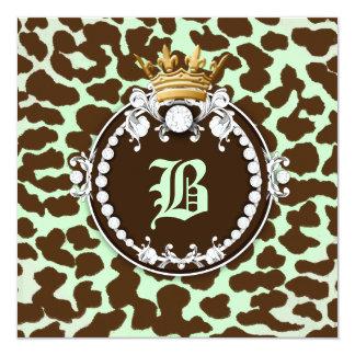 """Verde menta de Brown del leopardo del medallón de Invitación 5.25"""" X 5.25"""""""