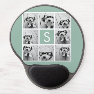 Verde menta de encargo del monograma del collage d alfombrilla de ratón con gel