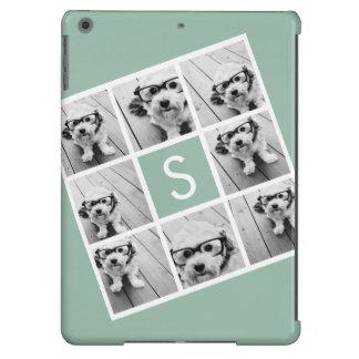 Verde menta de encargo del monograma del collage d funda para iPad air