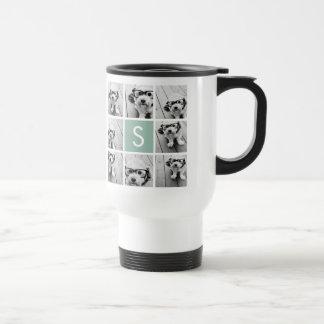 Verde menta de encargo del monograma del collage d tazas de café