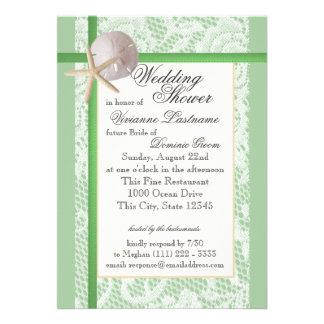 Verde menta de la ducha del boda del tema del océa invitación