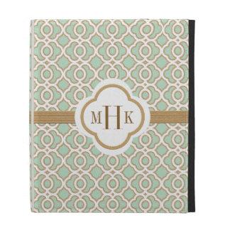 Verde menta de Quatrefoil del monograma y marroquí