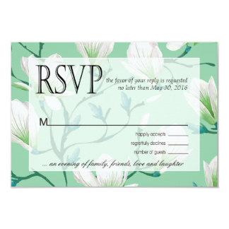 """Verde menta de RSVP el   del jardín de flores de Invitación 3.5"""" X 5"""""""