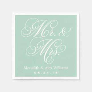 Verde menta de Sr. y de señora Napkins el | Servilletas De Papel