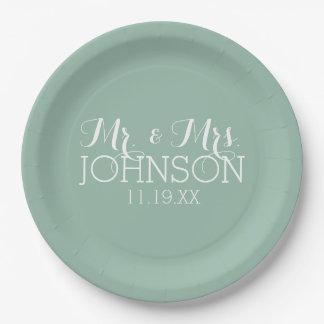 Verde menta del color sólido - Sr. y señora Plato De Papel 22,86 Cm