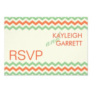 Verde menta del coral del boda de RSVP Chevron Invitaciones Personalizada