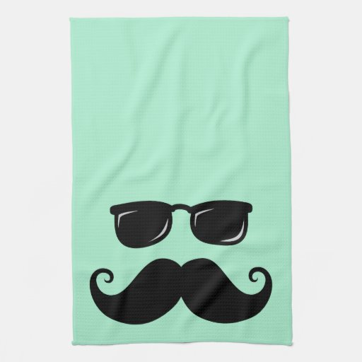 Verde menta divertida del bigote y de la cara de l toallas de cocina
