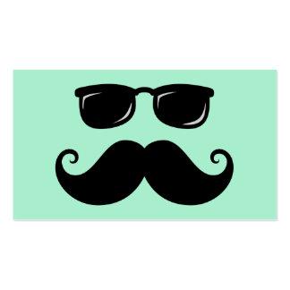 Verde menta divertida del bigote y de la cara de tarjetas de visita