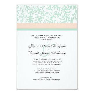 Verde menta e invitación rosada del boda del