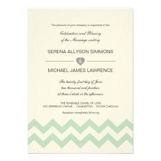 Verde menta e invitaciones de marfil del boda de C Comunicado