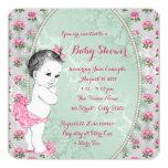 Verde menta elegante y ducha color de rosa rosada anuncio personalizado