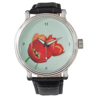 Verde menta floral roja del tulipán de la relojes de mano
