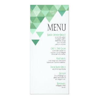 Verde menta geométrica del menú el | de la cena de invitación 10,1 x 23,5 cm